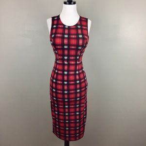 Sans Souci Plaid Midi Sheath Dress Wiggle Pin Up